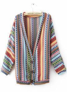 Green Long Sleeve V-neck Mayan Tribal Style Cardigan
