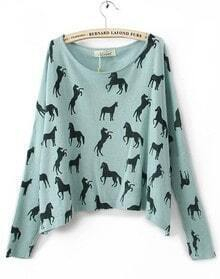 Blue Scoop Neck Batwing Long Sleeve Horse Print Jumper