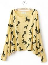 Yellow Scoop Neck Batwing Long Sleeve Horse Print Jumper