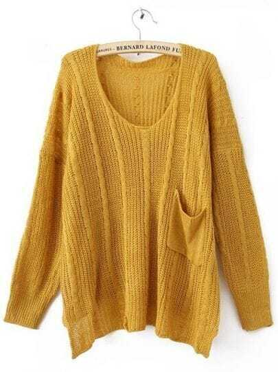 Yellow Long Sleeve Drop Shoulder Cable Pocket High Low Jumper
