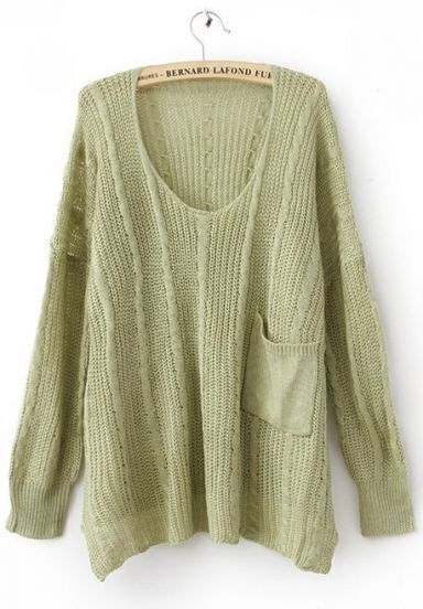Light Green Long Sleeve Drop Shoulder Cable Pocket High Low Jumper