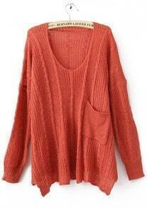 Orange Long Sleeve Drop Shoulder Cable Pocket High Low Jumper