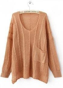 Light Peach Long Sleeve Drop Shoulder Cable Pocket High Low Jumper