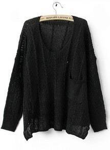 Black Long Sleeve Drop Shoulder Cable Pocket High Low Jumper