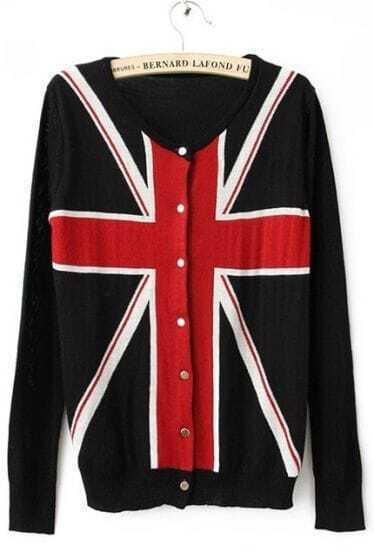 Black Long Sleeve Union Jack Flag Knitted Cardigan