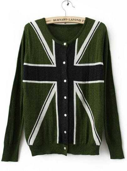 Green Long Sleeve Union Jack Flag Knitted Cardigan