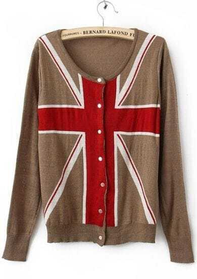 Light Coffee Long Sleeve Union Jack Flag Knitted Cardigan