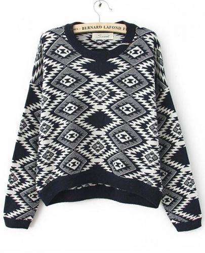 Black Long Sleeve Rhombus Gem Print Round Neck Jumper