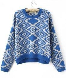 Blue Long Sleeve Rhombus Gem Print Round Neck Jumper
