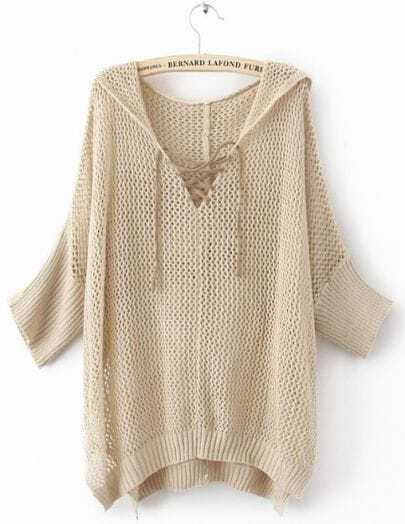 Khaki Batwing Sleeve Lace Up V-neck Hoody Open Stitch Jumper