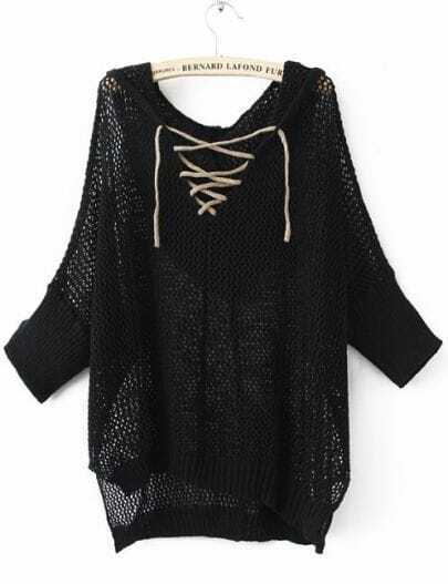 Black Batwing Sleeve Lace Up V-neck Hoody Open Stitch Jumper