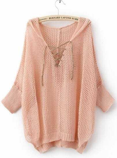 Light Pink Batwing Sleeve Lace Up V-neck Hoody Open Stitch Jumper