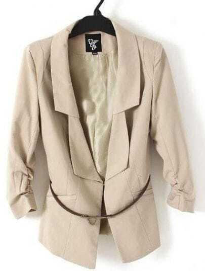 Khaki Ruched Sleeve Longline Double Lapel Belted Blazer