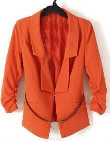 Orange Ruched Sleeve Longline Double Lapel Belted Blazer