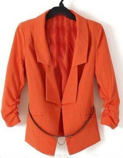 Orange Ruched Sleeve Longline Double Lapel Belted Blazer