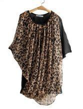 Coffee Leopard Sheer Mesh Yoke Pleated Chiffon Dress