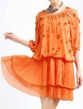 Orange Half Sleeve Flowers Pleated Polyester Dress