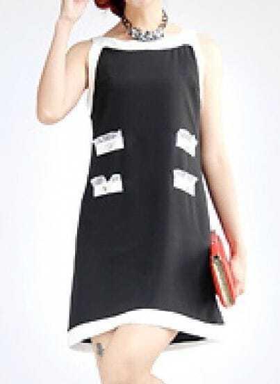 Black Sleeveless Pockets Rivet Silk Dress