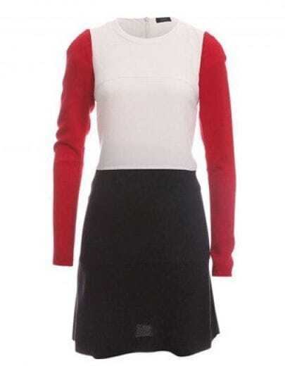 White Red Black Round Neck Long Sleeve Cotton Blends Dress