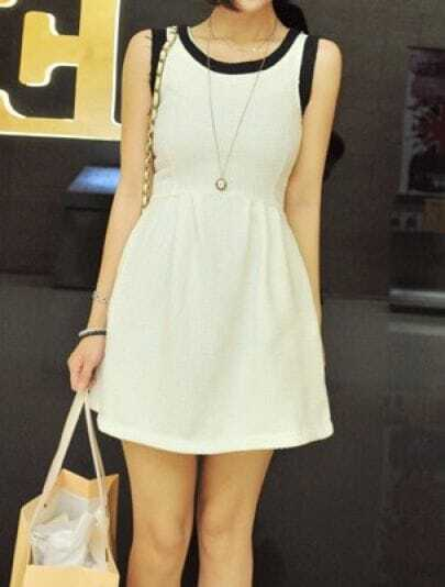 White Round Neck Sleeveless Mesh Yoke Slim Dress