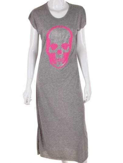 Grey Mid Waist Skull Print Sequined Cotton Dress