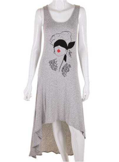 Grey Avatar Print Asymmetrical High Waist Cotton Dress