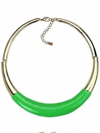 Green Fluorescence Gold Collar Necklace