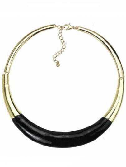 Black Fluorescence Gold Collar Necklace