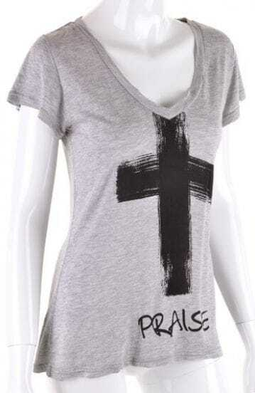 Grey Short Sleeve Cross Letters Print Modal T-Shirt