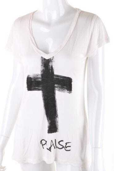 White Short Sleeve Cross Letters Print Modal T-Shirt