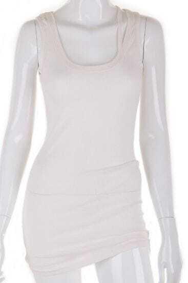 White Spaghetti Strap Loose Asymmetrical Cotton T-Shirt