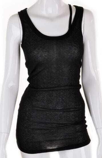 Black Spaghetti Strap Loose Asymmetrical Cotton T-Shirt