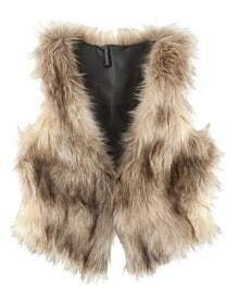 Brown Street Buttons Crop Faux Fur Vests