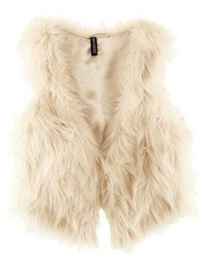 White Street Buttons Crop Faux Fur Vests