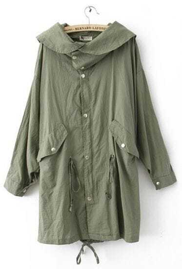 Green Hooded Skull Print Single Breasted Cotton Blends Trench Coat