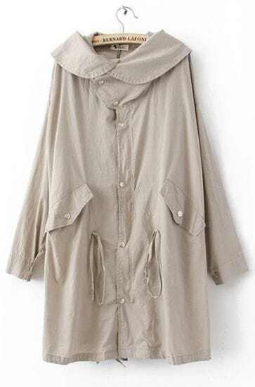 Beige Hooded Skull Print Single Breasted Cotton Blends Trench Coat