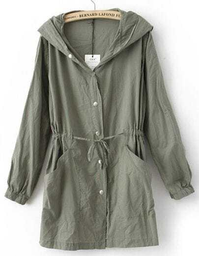 Green Hooded Batwing Cotton Blends Trench Coat