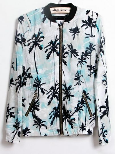 Blue High Neck Coconut Trees Print Jackets