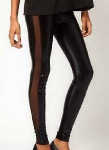 Black Skinny Elasic Mesh Yoke PU Leggings