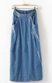 Blue Bleached Pockets Denim Full-Length Skirt