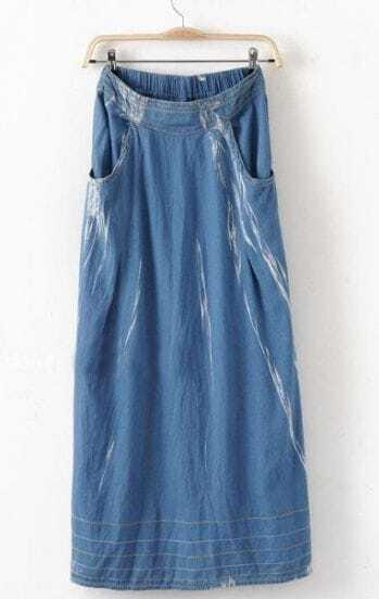 Blue Bleached Pockets Denim Full-Length Skirt