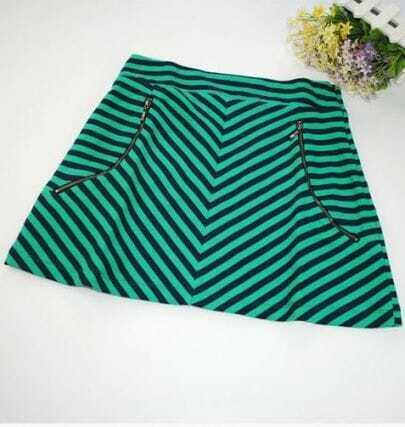 Green Zipper Striped A Line Cotton Blends Skirt