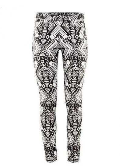 Black Totem Print Elasic Zipper Cotton Blends Pant