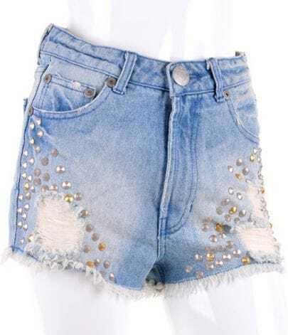 Blue Bleached Ripped Rivet High Waist Denim Shorts
