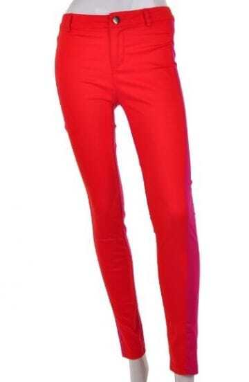 Red Drawstring Waist Skinny Fitted Cotton Legging