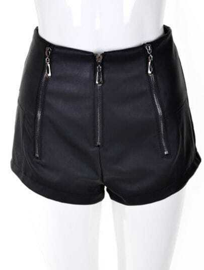 Black Street High Waist Zipper Leather Shorts