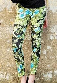 Multi Street Floral High Waist Fitted Cotton Pant