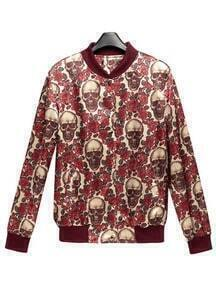 Red Rose Floral Skull Print Long Sleeve Jacket