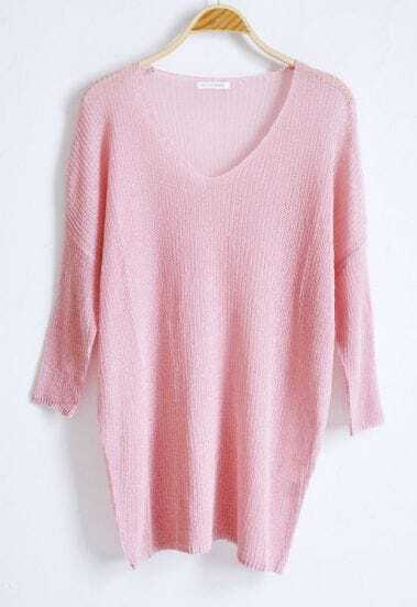 Pink V-neck Long Sleeve Batwing Hollow Loose Sweater