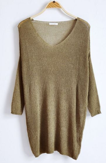 Green V-neck Long Sleeve Batwing Hollow Loose Sweater